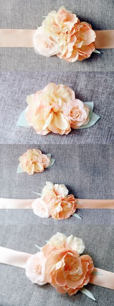 Bridal Peach Flower Sash Belt & Hair Clip - Matching Flowers Set - Custom Color & Size design just for you @nafestudio