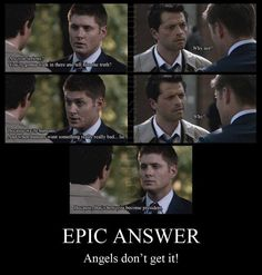 Just one of the MANY great responses from the one and only Dean Winchester!! Hahaha