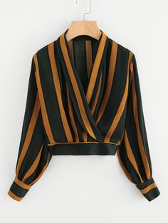 Shop Lantern Sleeve Contrast Striped Wrap Top at ROMWE, discover more fashion styles online. Girls Fashion Clothes, Teen Fashion Outfits, Fashion Pants, Fashion Dresses, Stylish Dress Designs, Stylish Dresses, Stylish Outfits, Crop Top Outfits, Blouse Outfit