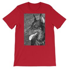 The Doberman Smile in Black/White - Short-Sleeve Unisex T-Shirt  #colors #RocknRoll #Robert #Shirts #products #coffee #items #oneofakind #coffecups #unique
