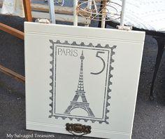 Paris Postage Stamp stencil on a vintage cabinet door by My Salvaged Treasures!