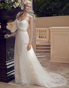 Robe de mariée Empire Tulle Traine Courte Luxueux Col En V