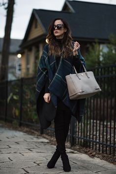 Faux Fur Lined Parka + Plaid Scarf Simple Outfits, Classy Outfits, Winter Outfits, Casual Outfits, Stuart Weitzman, Highland Boots, Black Turtleneck Dress, Over The Knee Boot Outfit, Knee Boots