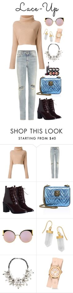 """""""Lace It Up"""" by acacia97 ❤ liked on Polyvore featuring Yves Saint Laurent, Zimmermann, Gucci, Fendi, BillyTheTree, John Lewis, Michele and Laura Geller"""