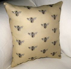 French Queen Bee & Burlap Pillow - $12.99 on Etsy! Perfect for a Neutral French Country Decor!
