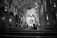 Beautiful black and white cathedral wedding photo, by Dallas photographer Paul Ernest