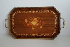 Vintage Sorrento Wood Marquetry Tray Inlaid Flowers by Retro Vintage, Vintage Items, Wash N Dry, Marquetry, Brass Handles, Sorrento, Recycled Materials, Country Of Origin, Recycling