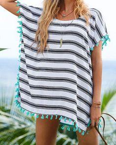 Stylish Scoop Neck Striped Tassel Spliced Short Sleeve Cover-Up For Women Swimwear   RoseGal.com Mobile