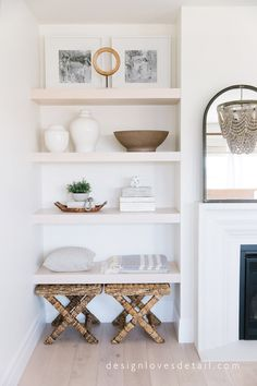 My Spring Home Tour Part Master Bedroom Refresh! My Spring Home Tour Part Master Bedroom Refre Home Living Room, Living Room Decor, Living Room No Fireplace, Alcove Ideas Living Room, Built In Shelves Living Room, Diy Built In Shelves, Bedroom Shelving, Shelving Decor, Home Interior