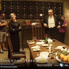 Downton Abbey Season 6 ..NEW #DowntonPBS #BTS photo: Phyllis Logan and Jim Carter take a break from filming a downstairs dining scene for the series finale! #FarewellDownton cc: @pbsofficial ..