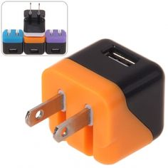 Dual-Color Clevrish Single USB Port Power Adapter Compatible with iPhone and Other USB Devices (Orange with Black) (ORANGE), Cool Gadgets for iphone, iPad & ipod - fashiondresswholesale.com