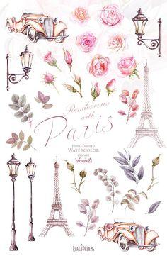 Paris Watercolor Clipart France Eiffel tower France Roses
