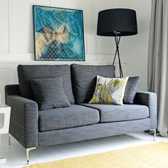 Click to zoom - Oslo two seater sofa grey fabric