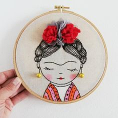 Frida Kahlo Embroidery Hoop Art - Textured Wall Décor, Mix Media Art - painting & embroidery, Modern Hoop Wall Art Decor, Gift For Artist Embroidery Hoop Art, Hand Embroidery Patterns, Cross Stitch Embroidery, Embroidery Designs, Bargello Needlepoint, Gifts For An Artist, Texture Art, Fiber Art, Sewing Projects