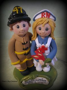 Wedding Cake Topper Custom Fireman and by trinasclaycreations, $155.00