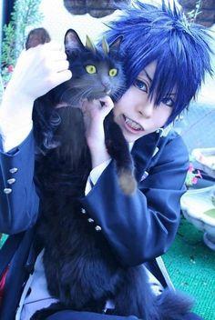 Rin Okumura cosplay, Rin Okumura, blue, Rin Okumura and cat, cat, cosplay