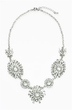 Crystal Brilliant Bib - silver tone floral statement necklace by Shamelessly Sparkly $32.90