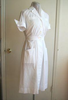 nurse dress nurses uniform dress: pure by edgertor Nursing Pins, Nursing Dress, Nursing Clothes, Uniform Dress, Shirt Dress, White Nurse Dress, Nurse Aesthetic, Unique Halloween Costumes, Costume Ideas
