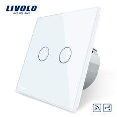 Livolo EU Standard, Touch Remote Switch, White Crystal Glass Panel, 2 Gangs 2 Way, AC 220~250V + LED Indicator,VL-C702SR-1/2/3/5 #Affiliate