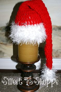 Santa elf hat red and white with fun fur trim 14 by SweetTsShoppe, $14.95