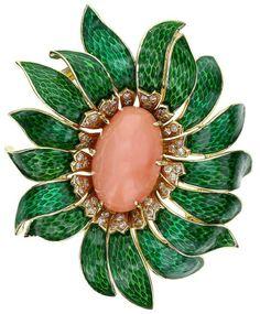 Van Cleef & Arpels Enamel Coral Diamond Flower Pendant/Brooch