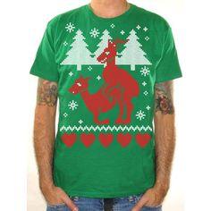 Ugly Christmas Sweater Shirt Humping Reindeer X-Mas Tee Funny Christmas Sweater Shirt