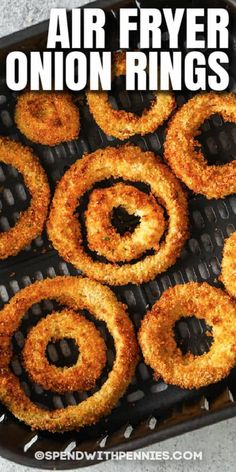 Learn how to make Air Fryer Onion Rings with this easy recipe! They are so crispy, crunchy, and full of flavor, perfect as an appetizer or as a side dish. #spendwithpennies #airfryeronionrings #onionrings #appetizer #sidedish #recipe #homemade #easy #batter #best #crispy