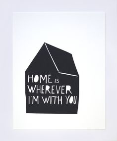 """""""home is wherever we are if there's love here too"""" - jack johnson with a cool little house & a palm tree on the side"""