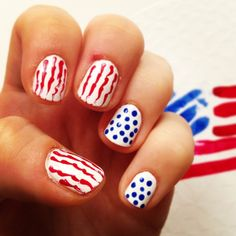 Patriotic Nail Design Ideas for 2015 - Styles 7 4th Of July Nails, Fourth Of July, Pretty Nail Designs, Toe Nail Art, Blue Nails, Pretty Nails, Pedicure, You Nailed It, Dots