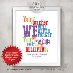 Teacher Appreciation Personalized Print from Students / End of Year Teacher. Teacher Appreciation Personalized Print from Students / End of Year Teacher Gift Ideas / Custom Thank You Add your . Teacher Birthday Card, Teachers Day Card, Thank You Teacher Gifts, Teacher Signs, Teacher Cards, Teacher Name, Your Teacher, The Grinch, School Gifts