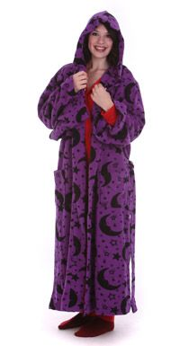 Fun Wizard Robe or Wizard Gown made from soft polar fleece. Bold purple color and with black stars and moons pattern. Great gift for all wizard fans Long Gown Dress, Dress Up, Adult Onesie Pajamas, Wizard Robes, One Piece Pajamas, Black Star, Alternative Fashion, Fancy Dress, Party Wear