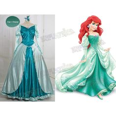 Disney The Little Mermaid Cosplay Princess Ariel Costume Outfit ($228) ❤ liked on Polyvore featuring costumes, disney costumes, little mermaid halloween costume, white halloween costumes, cosplay costumes and ariel costume
