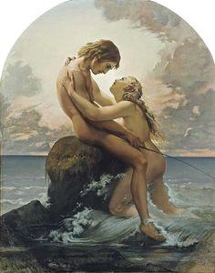 Le Pêcheur et la Nymphe (The Fisherman and the Nymph) / Henri Lehmann (Karl Ernest Rodolphe Heinrich Salem Lehmann, 1814-1882)