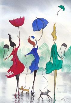 A Sudden Gust~Friends kJ Carr - Arte, pintura Art And Illustration, Umbrella Art, Under My Umbrella, Kunst Portfolio, Dancing In The Rain, Whimsical Art, Painting & Drawing, Watercolor Art, Art Drawings