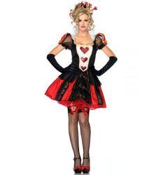 Deluxe Ladies Queen Of Red Hearts Halloween Alice In Wonderland Party Fancy Dress Up Costume
