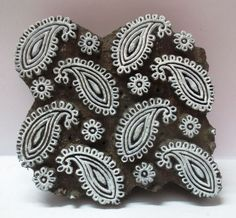 Vintage Paisley Print Hand Carved Wooden Textile Printing Block Stamp. by aphrodite.arts found on ebay