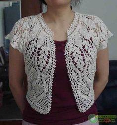 Фото, автор iv.oks77 на Яндекс.Фотках Crochet Bolero Pattern, Crochet Bra, Crochet Cardigan, Crochet Clothes, Crochet Shrugs, Crochet Sweaters, Beginner Crochet Projects, Crochet Wedding, Jacket Pattern