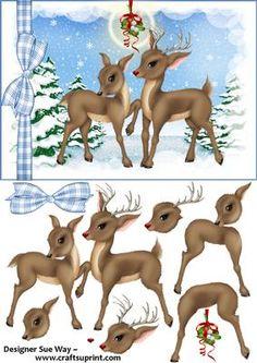 Rudolf the Rednosed Reindeer Under the Mistletoe Decoupage