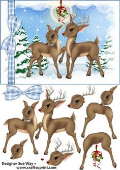Rudolf the Rednosed Reindeer Under the Mistletoe Decoupage