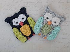 Gehäkelte Eulen Applikation - Owl crochet applique