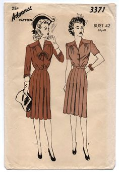 """1940's Advance One Piece Day Dress with button up front pattern - Bust 42"""" - No. 4911 by backroomfinds on Etsy"""