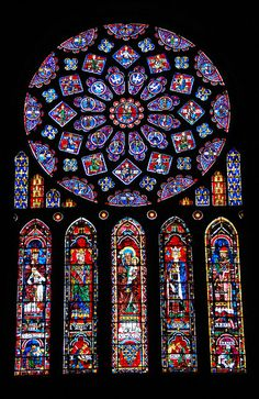 Cathédrale Notre-Dame de Chartres    The north rose window in Chartres Cathedral, which dates to the 13th century.