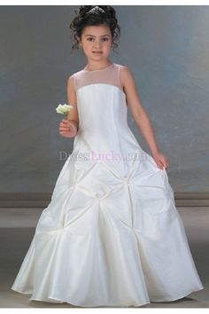 White A-Line/Princess Zipper Up Natural Long/Floor-length Flower Girl Dresses With Buttons FD2637