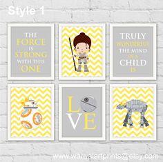 Star Wars Rey BB-8 AT-AT Nursery Art Print. Star Wars Baby Girl Nursery Decor. Yellow Gray Girl Room Decor. Gift For Girl. Item No.: 100 by waiwaiartprints on Etsy https://www.etsy.com/listing/248316231/star-wars-rey-bb-8-at-at-nursery-art