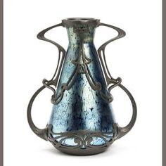 An Art Nouveau Loetz style pewter mounted glass vase First quarter 20th Century