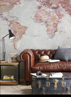 This is going to be my living room one day. Vintage map wallpaper, old leather couch and a trunk suitcase for a coffee table Interior Design Trends, Home Design, Interior Inspiration, Design Ideas, Design Styles, Room Inspiration, Design Design, Design Inspiration, Travel Inspiration