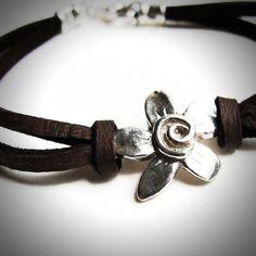 Sterling Spiral Fleur on Leather bracelet by JewelryByMaeBee.