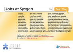 Job openings posted on August 3, 2013 www.sysgen.com.ph