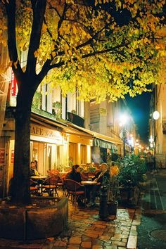 Paris, very much like the avenue where we stay, with the hotel having 2 small cafes to each side.