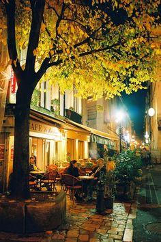 Paris at night, in the fall